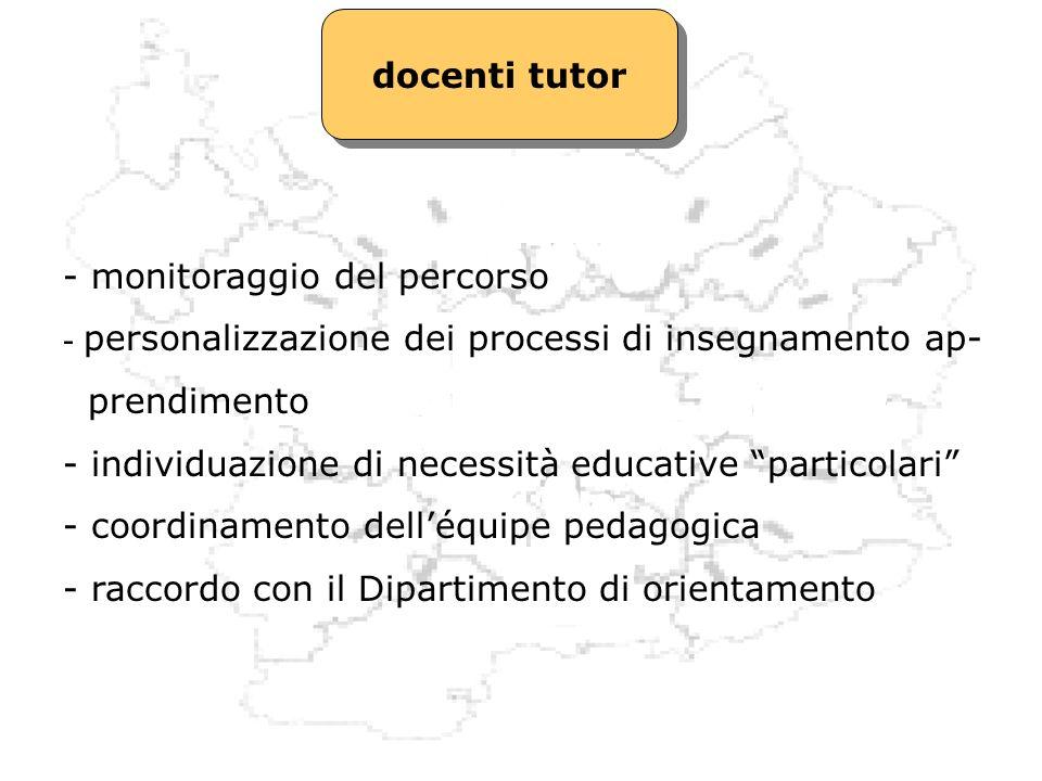 docenti tutor - monitoraggio del percorso - personalizzazione dei processi di insegnamento ap- prendimento - individuazione di necessità educative par