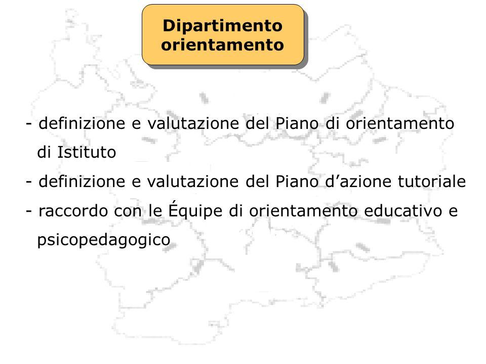 Dipartimento orientamento Dipartimento orientamento - definizione e valutazione del Piano di orientamento di Istituto - definizione e valutazione del