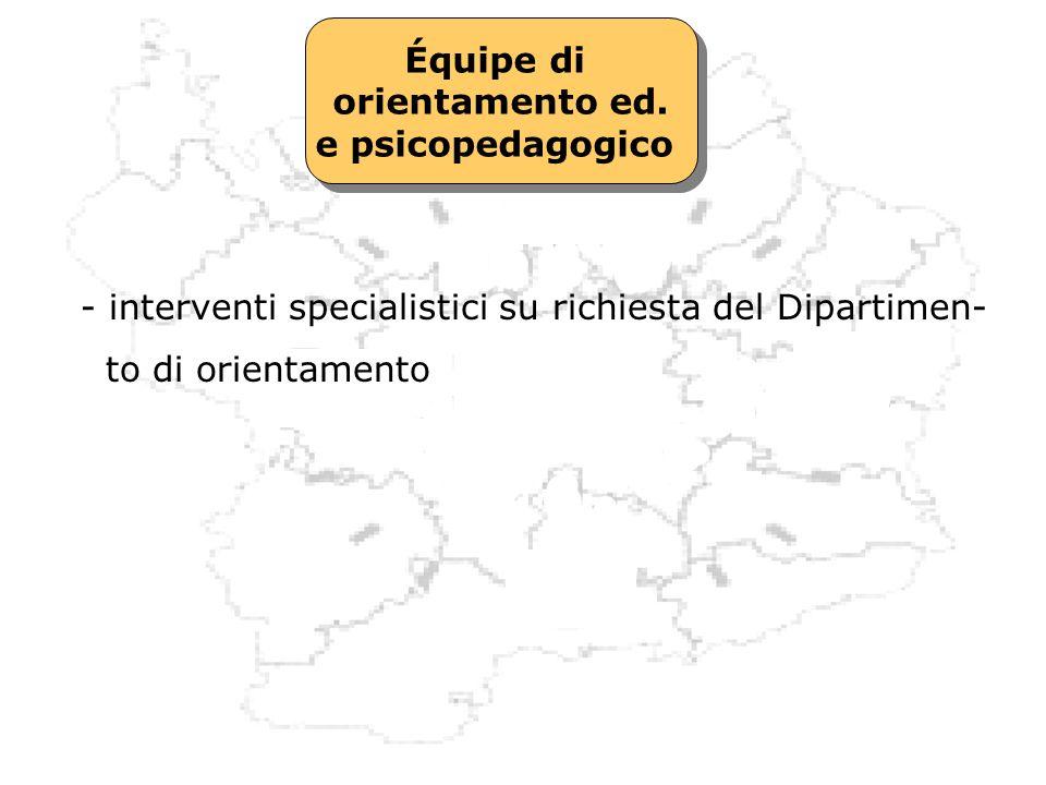 Équipe di orientamento ed. e psicopedagogico Équipe di orientamento ed. e psicopedagogico - interventi specialistici su richiesta del Dipartimen- to d