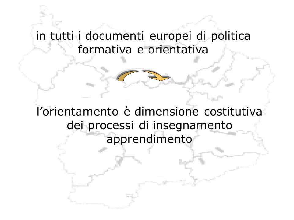 in tutti i documenti europei di politica formativa e orientativa lorientamento è dimensione costitutiva dei processi di insegnamento apprendimento