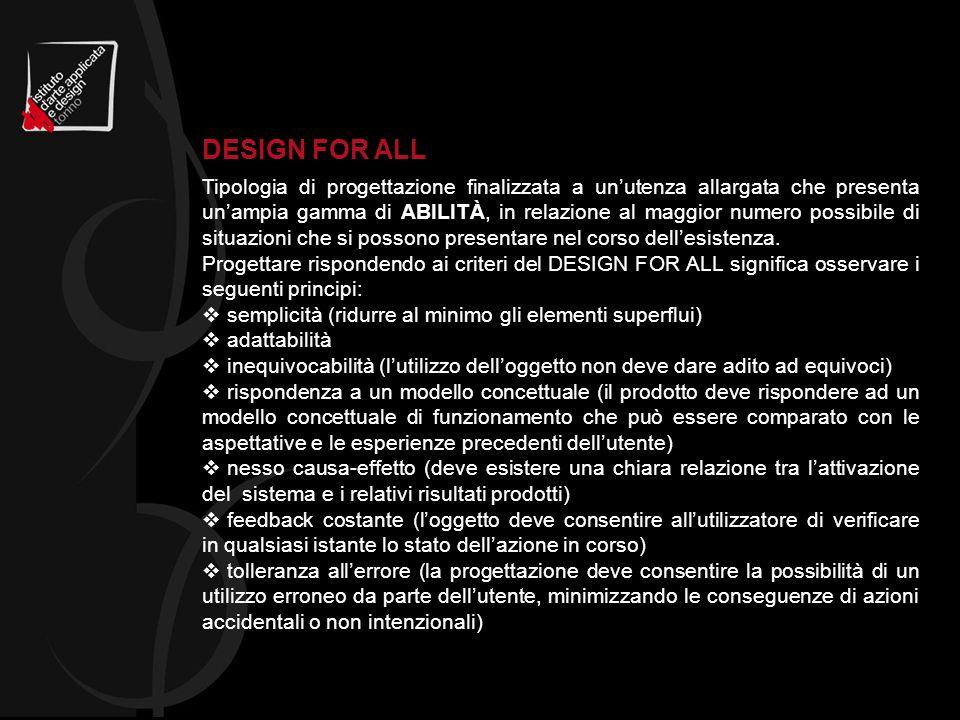 Tipologia di progettazione finalizzata a unutenza allargata che presenta unampia gamma di ABILITÀ, in relazione al maggior numero possibile di situazi