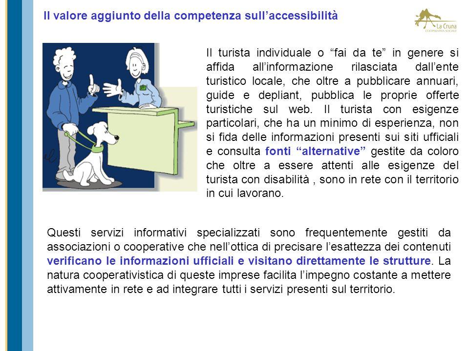 Il valore aggiunto della competenza sullaccessibilità Il turista individuale o fai da te in genere si affida allinformazione rilasciata dallente turis