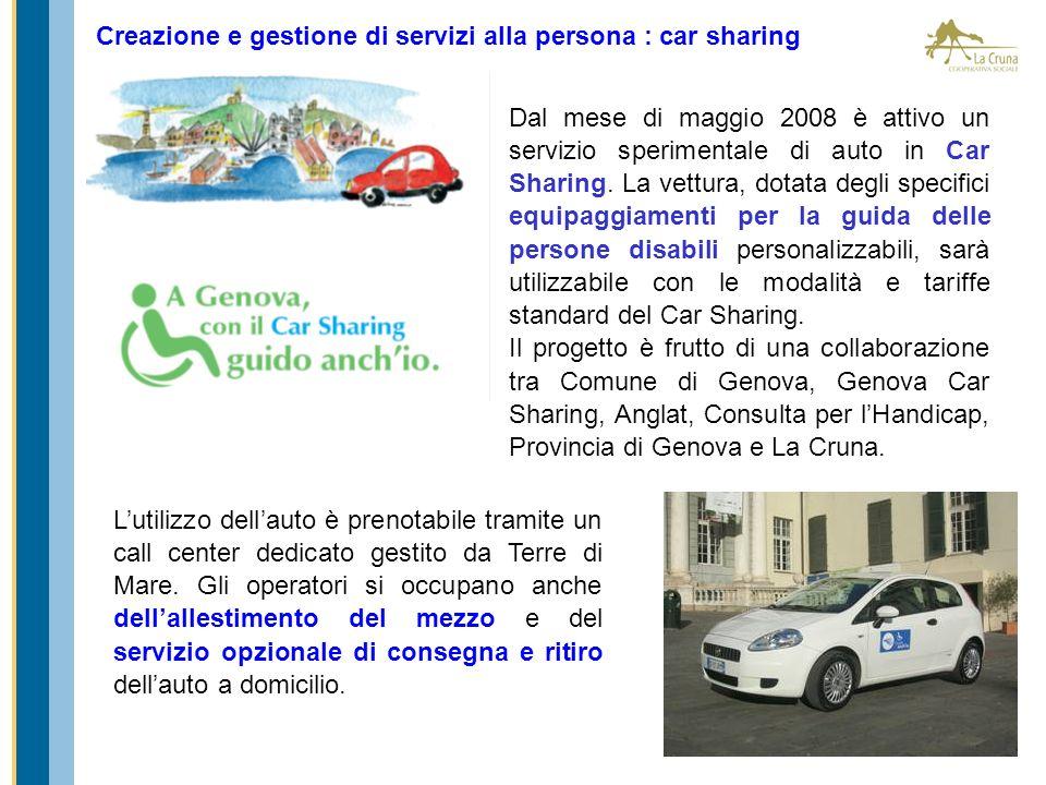 Creazione e gestione di servizi alla persona : car sharing Dal mese di maggio 2008 è attivo un servizio sperimentale di auto in Car Sharing. La vettur