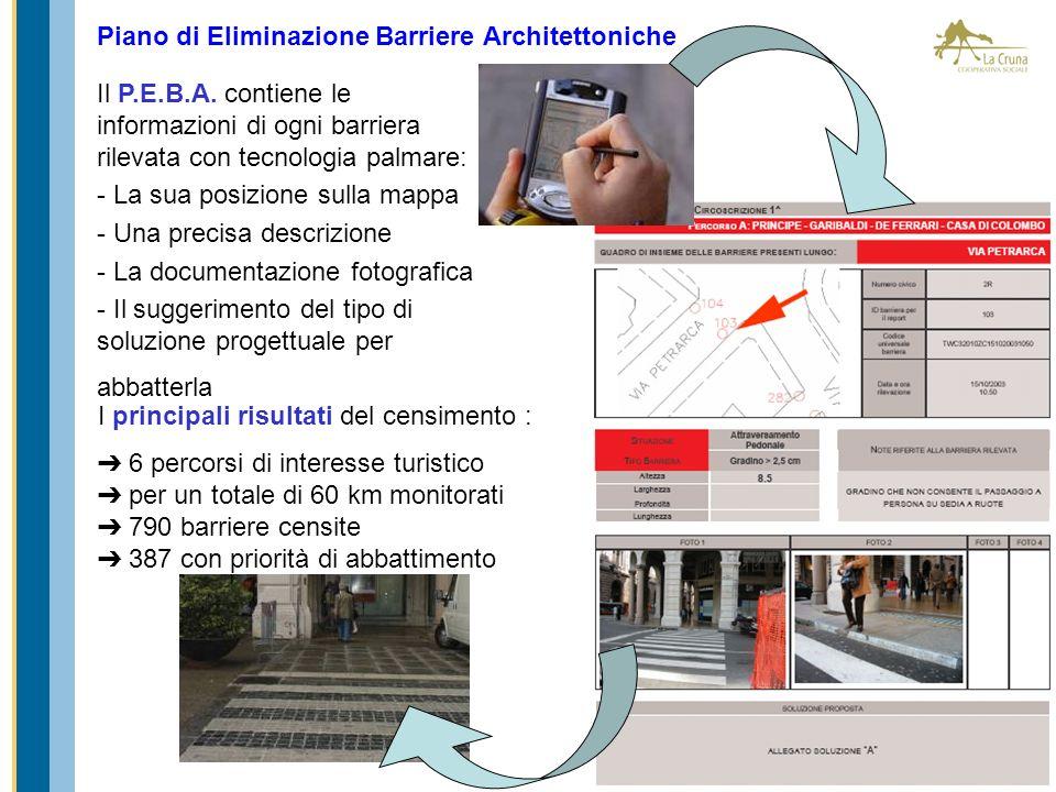 Piano di Eliminazione Barriere Architettoniche Il P.E.B.A. contiene le informazioni di ogni barriera rilevata con tecnologia palmare: - La sua posizio