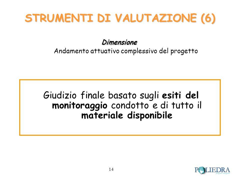 14 STRUMENTI DI VALUTAZIONE (6) Dimensione Andamento attuativo complessivo del progetto Giudizio finale basato sugli esiti del monitoraggio condotto e di tutto il materiale disponibile