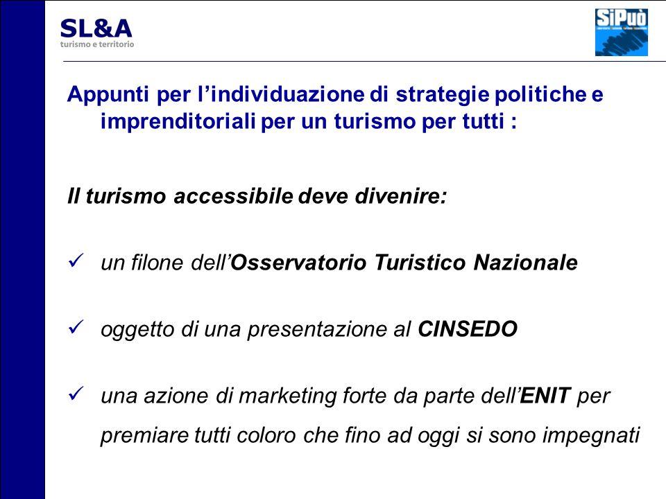 Appunti per lindividuazione di strategie politiche e imprenditoriali per un turismo per tutti : Il turismo accessibile deve divenire: un filone dellOs
