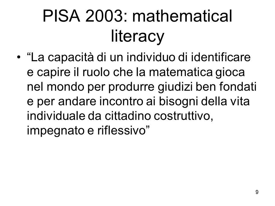 9 PISA 2003: mathematical literacy La capacità di un individuo di identificare e capire il ruolo che la matematica gioca nel mondo per produrre giudiz