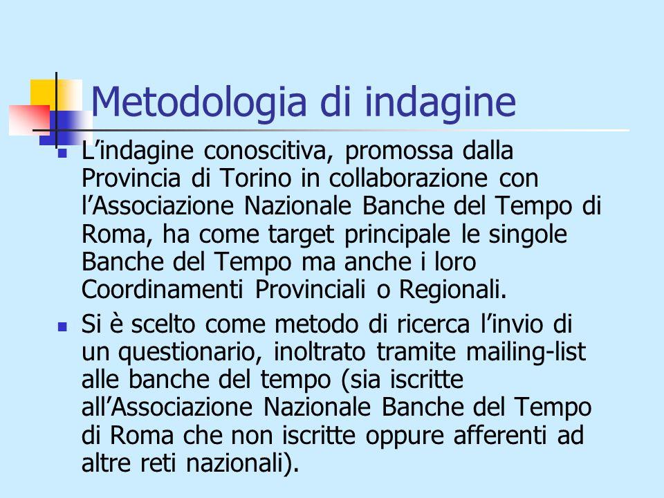 Metodologia di indagine Lindagine conoscitiva, promossa dalla Provincia di Torino in collaborazione con lAssociazione Nazionale Banche del Tempo di Roma, ha come target principale le singole Banche del Tempo ma anche i loro Coordinamenti Provinciali o Regionali.