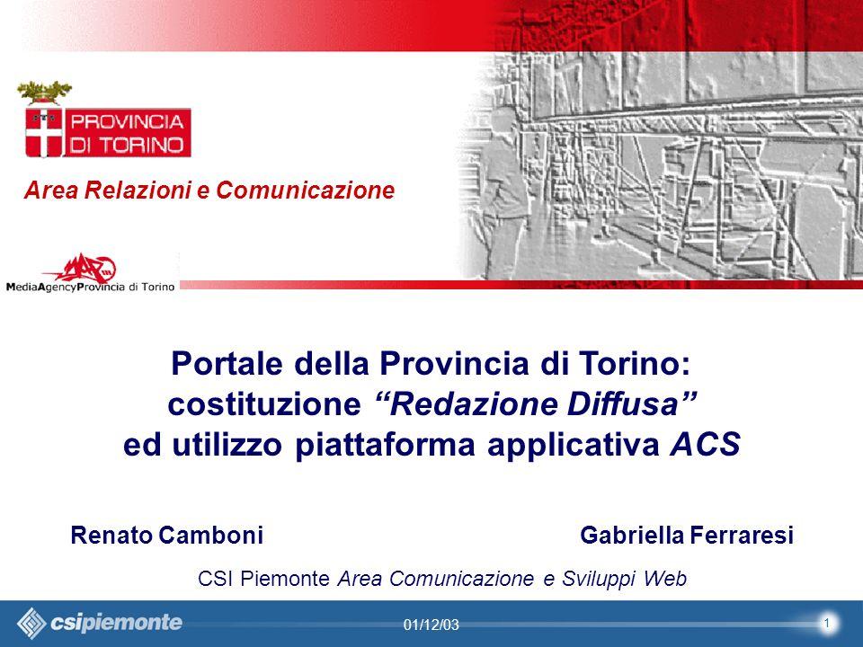 2 Area Comunicazione e Sviluppo Web09/10/2003Sito Web Provincia di Torino Provincia di Torino Area Relazioni e Comunicazione 2 01/12/03 Provincia di Torino Il Sito Web della Provincia di Torino