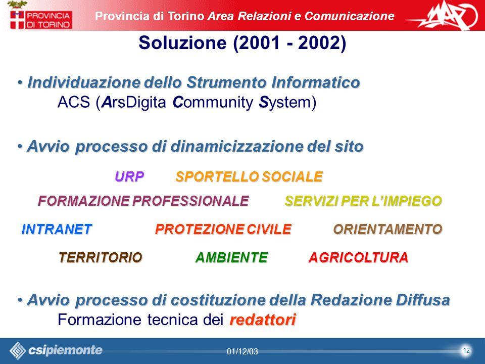 12 Area Comunicazione e Sviluppo Web09/10/2003Sito Web Provincia di Torino Provincia di Torino Area Relazioni e Comunicazione 12 01/12/03 Soluzione (2001 - 2002) Individuazione dello Strumento Informatico Individuazione dello Strumento Informatico ACS (ArsDigita Community System) Avvio processo di dinamicizzazione del sito Avvio processo di dinamicizzazione del sito Avvio processo di costituzione della Redazione Diffusa Avvio processo di costituzione della Redazione Diffusa redattori Formazione tecnica dei redattori SERVIZI PER LIMPIEGO AMBIENTE INTRANET SPORTELLO SOCIALE PROTEZIONE CIVILE URP FORMAZIONE PROFESSIONALE ORIENTAMENTO TERRITORIOAGRICOLTURA