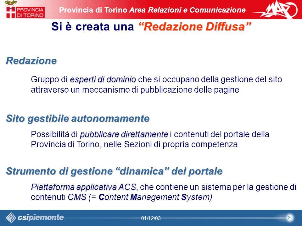 20 Area Comunicazione e Sviluppo Web09/10/2003Sito Web Provincia di Torino Provincia di Torino Area Relazioni e Comunicazione 20 01/12/03 Redazione Diffusa Si è creata una Redazione Diffusa Redazione esperti di dominio Gruppo di esperti di dominio che si occupano della gestione del sito attraverso un meccanismo di pubblicazione delle pagine Strumento di gestione dinamica del portale Piattaforma applicativaACS CMSCMS Piattaforma applicativa ACS, che contiene un sistema per la gestione di contenuti CMS (= Content Management System) Sito gestibile autonomamente pubblicare direttamente Possibilità di pubblicare direttamente i contenuti del portale della Provincia di Torino, nelle Sezioni di propria competenza