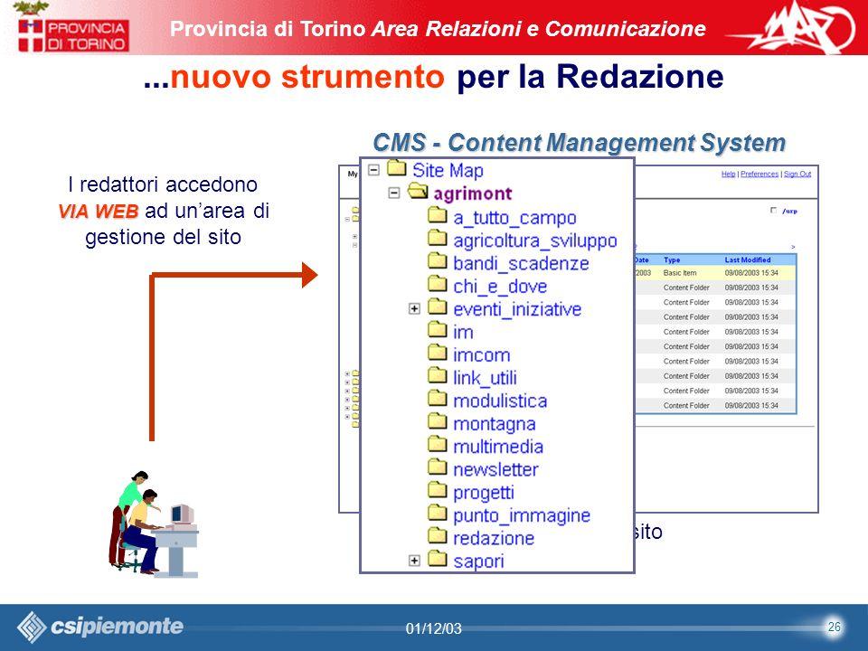 26 Area Comunicazione e Sviluppo Web09/10/2003Sito Web Provincia di Torino Provincia di Torino Area Relazioni e Comunicazione 26 01/12/03...nuovo strumento per la Redazione CMS - Content Management System Backstage del sito VIA WEB I redattori accedono VIA WEB ad unarea di gestione del sito