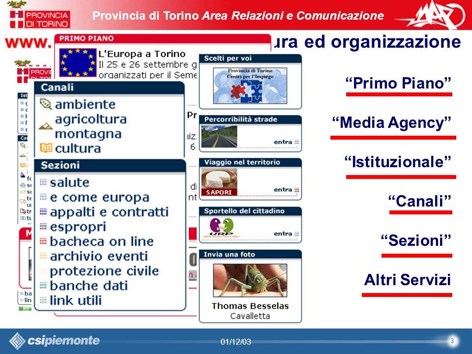 4 Area Comunicazione e Sviluppo Web09/10/2003Sito Web Provincia di Torino Provincia di Torino Area Relazioni e Comunicazione 4 01/12/03 Struttura ed organizzazione del sito Web