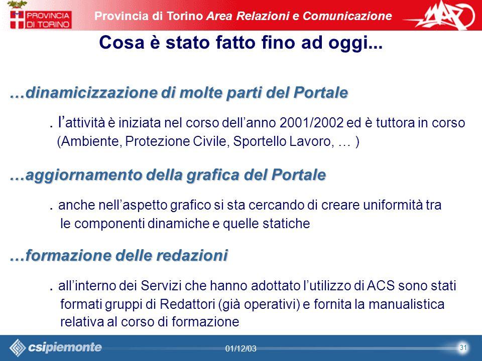 31 Area Comunicazione e Sviluppo Web09/10/2003Sito Web Provincia di Torino Provincia di Torino Area Relazioni e Comunicazione 31 01/12/03 Cosa è stato fatto fino ad oggi...