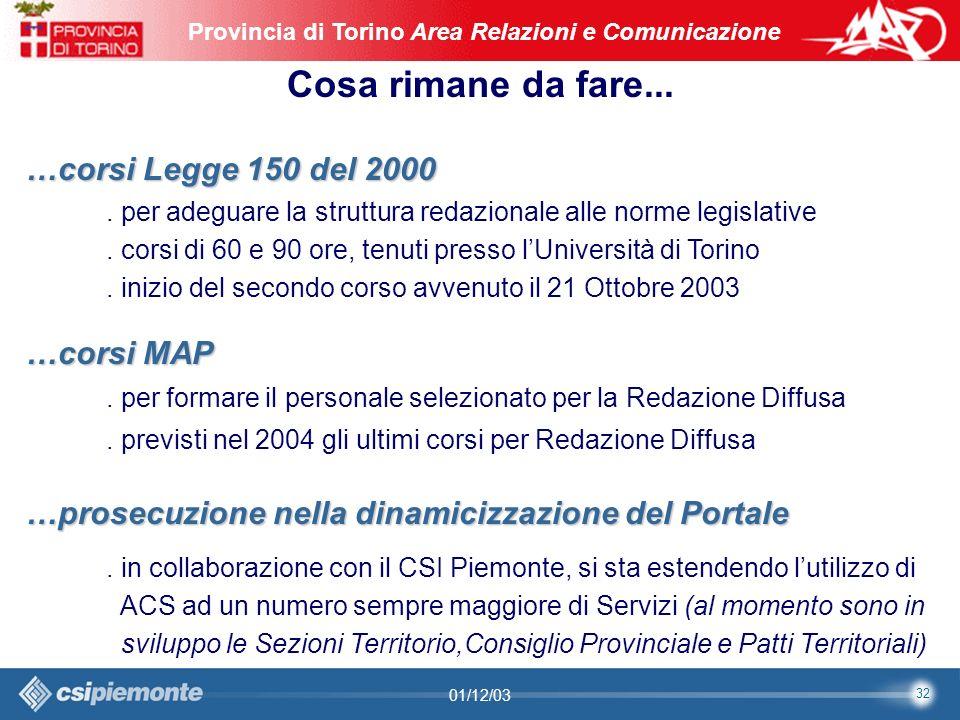 32 Area Comunicazione e Sviluppo Web09/10/2003Sito Web Provincia di Torino Provincia di Torino Area Relazioni e Comunicazione 32 01/12/03 Cosa rimane da fare...