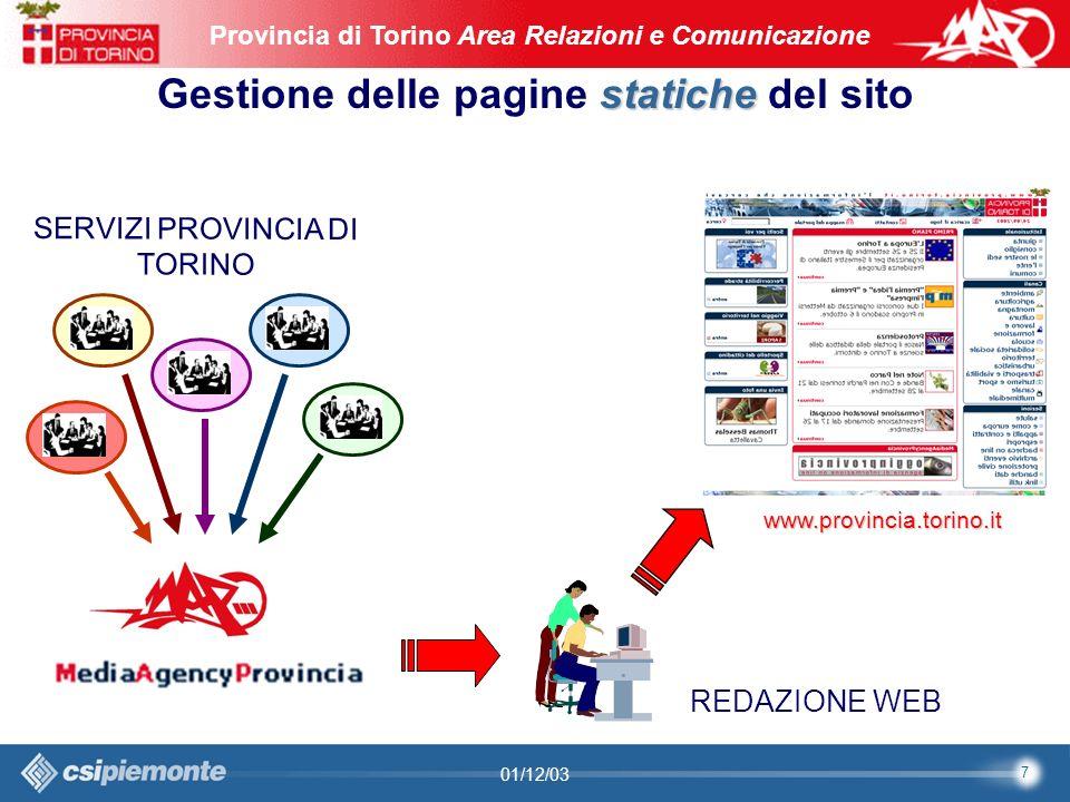 8 Area Comunicazione e Sviluppo Web09/10/2003Sito Web Provincia di Torino Provincia di Torino Area Relazioni e Comunicazione 8 01/12/03 Problemi operativi priorità Necessità di stabilire le priorità rispetto alle richieste autonomia Mancanza di autonomia da parte dei Servizi nella gestione dei contenuti Accodamento Accodamento delle richieste con priorità più bassa flusso Correttezza nel flusso delle richieste: MAP (a) invio a MediaAgencyProvincia (b) approvazione (c) messa in opera redazione web centralizzata Esiste ununica redazione web centralizzata