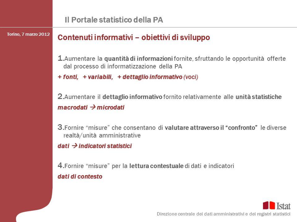 Il Portale statistico della PA Contenuti informativi – obiettivi di sviluppo 1. Aumentare la quantità di informazioni fornite, sfruttando le opportuni