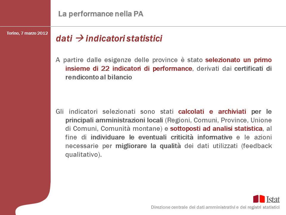 La performance nella PA dati indicatori statistici A partire dalle esigenze delle province è stato selezionato un primo insieme di 22 indicatori di pe