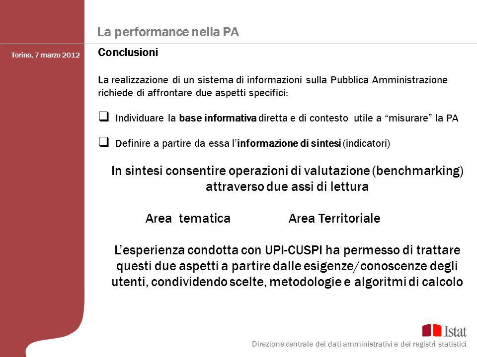 La performance nella PA Conclusioni La realizzazione di un sistema di informazioni sulla Pubblica Amministrazione richiede di affrontare due aspetti s