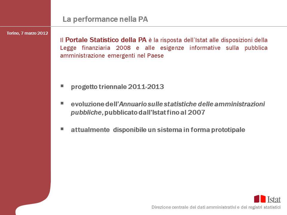 La performance nella PA Il Portale Statistico della PA è la risposta dellIstat alle disposizioni della Legge finanziaria 2008 e alle esigenze informat