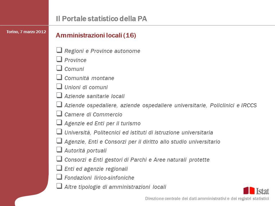 Il Portale statistico della PA Amministrazioni locali (16) Regioni e Province autonome Province Comuni Comunità montane Unioni di comuni Aziende sanit