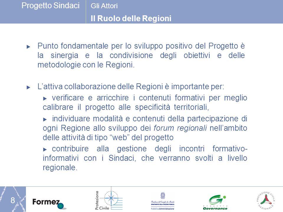 Progetto Sindaci 8 Il Ruolo delle Regioni Gli Attori Punto fondamentale per lo sviluppo positivo del Progetto è la sinergia e la condivisione degli obiettivi e delle metodologie con le Regioni.