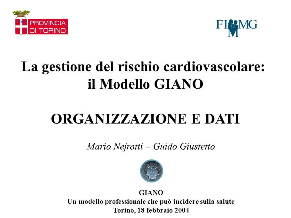La gestione del rischio cardiovascolare: il Modello GIANO ORGANIZZAZIONE E DATI Mario Nejrotti – Guido Giustetto GIANO Un modello professionale che può incidere sulla salute Torino, 18 febbraio 2004