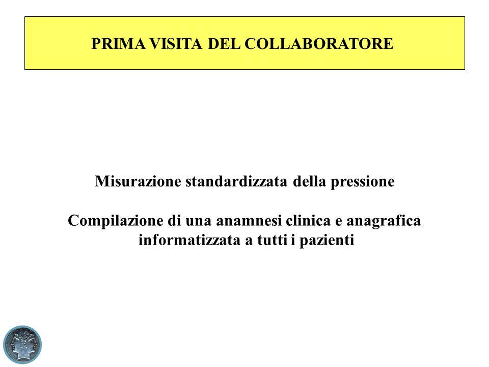 PRIMA VISITA DEL COLLABORATORE Misurazione standardizzata della pressione Compilazione di una anamnesi clinica e anagrafica informatizzata a tutti i pazienti