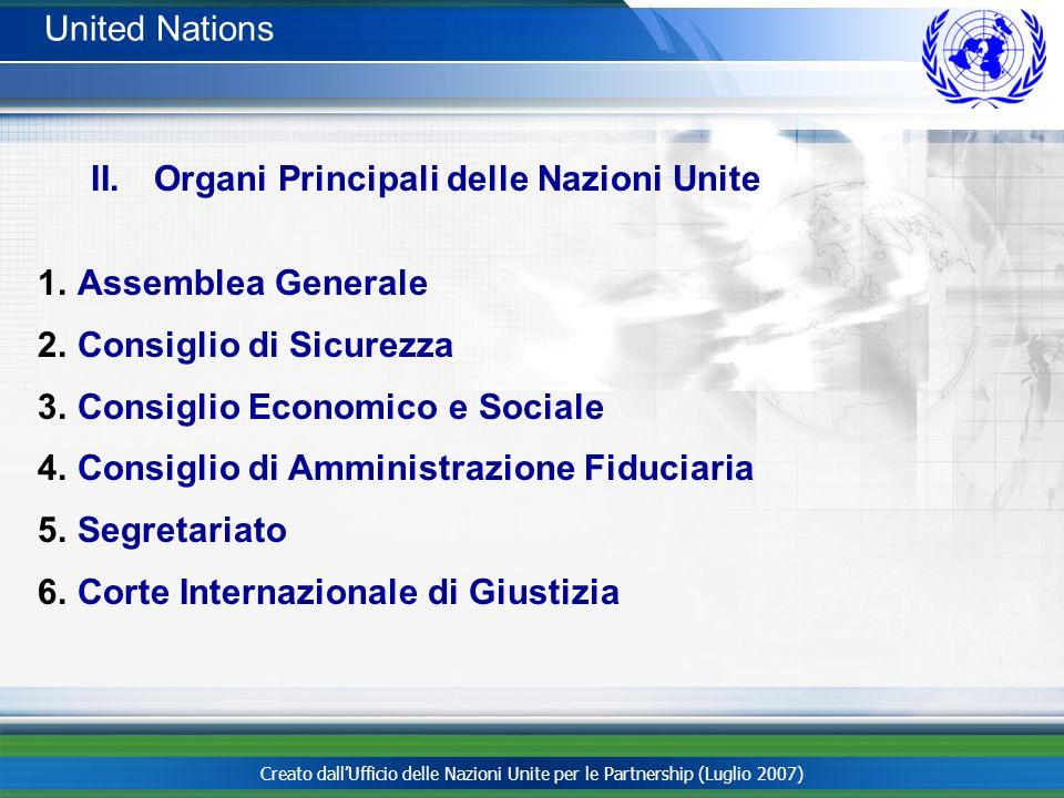 Creato dallUfficio delle Nazioni Unite per le Partnership (Luglio 2007) II. Organi Principali delle Nazioni Unite 1.Assemblea Generale 2.Consiglio di