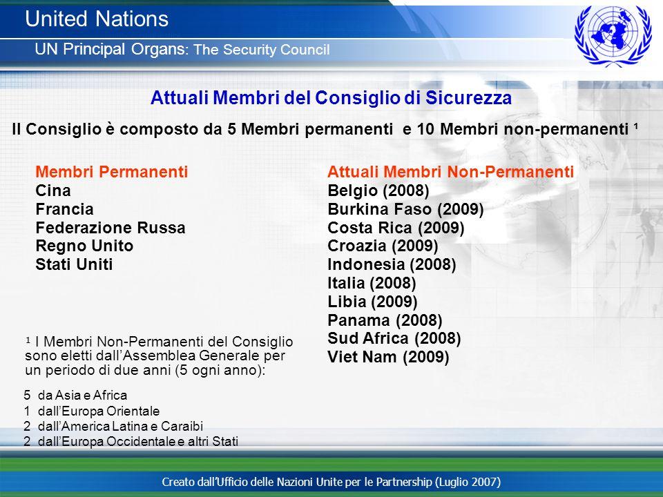 Creato dallUfficio delle Nazioni Unite per le Partnership (Luglio 2007) Attuali Membri del Consiglio di Sicurezza Il Consiglio è composto da 5 Membri