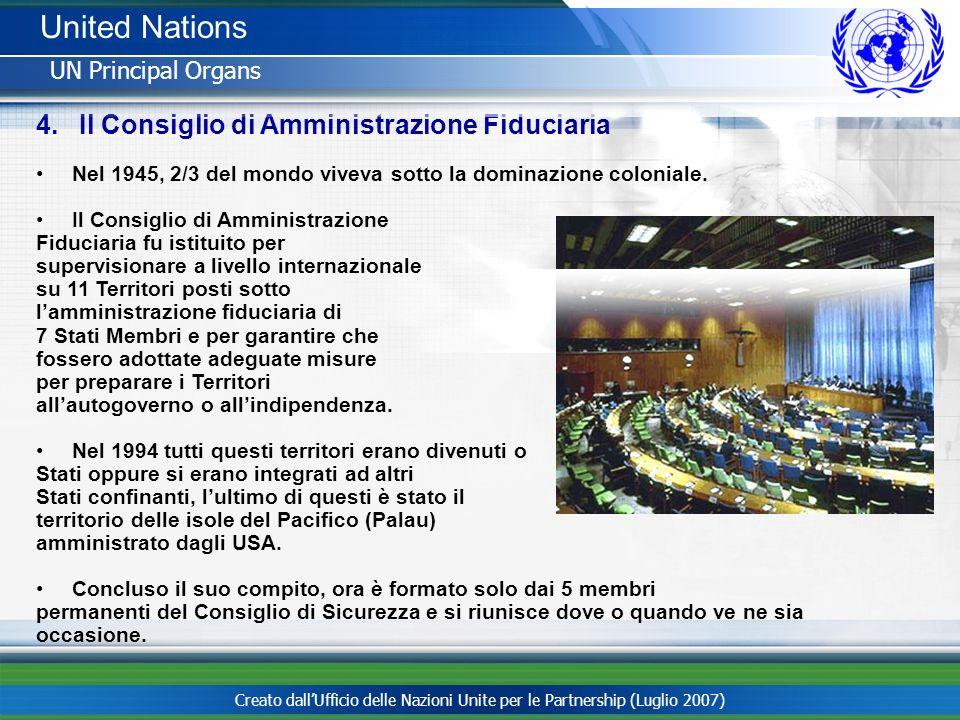 Creato dallUfficio delle Nazioni Unite per le Partnership (Luglio 2007) 4. Il Consiglio di Amministrazione Fiduciaria Nel 1945, 2/3 del mondo viveva s