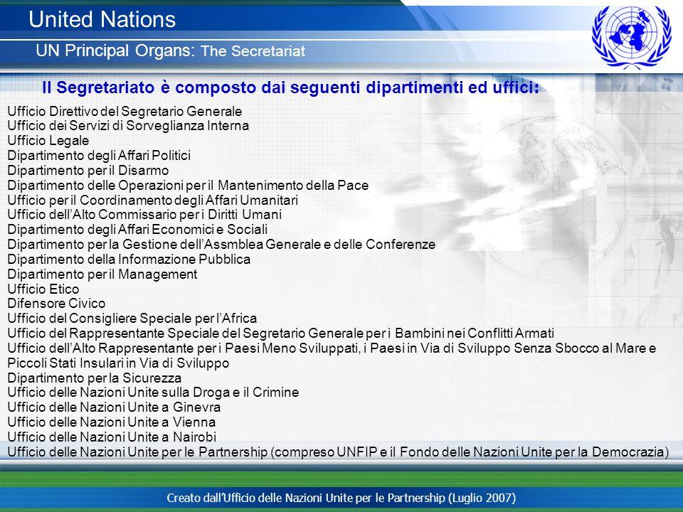 Creato dallUfficio delle Nazioni Unite per le Partnership (Luglio 2007) Ufficio Direttivo del Segretario Generale Ufficio dei Servizi di Sorveglianza