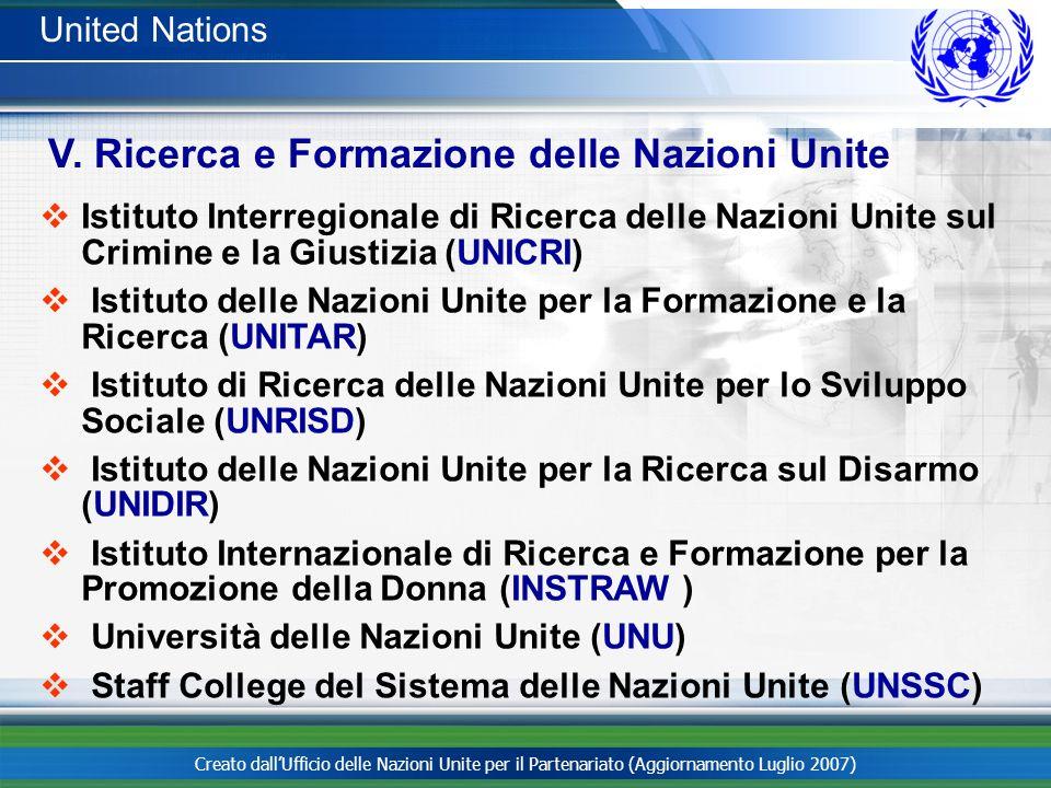 Creato dallUfficio delle Nazioni Unite per il Partenariato (Aggiornamento Luglio 2007) United Nations Istituto Interregionale di Ricerca delle Nazioni