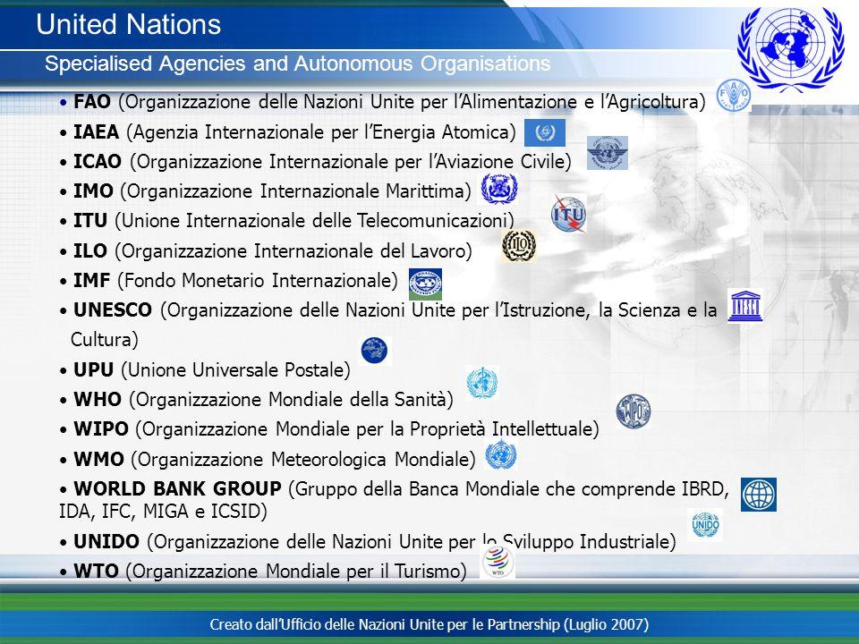 Creato dallUfficio delle Nazioni Unite per le Partnership (Luglio 2007) United Nations Specialised Agencies and Autonomous Organisations FAO (Organizz