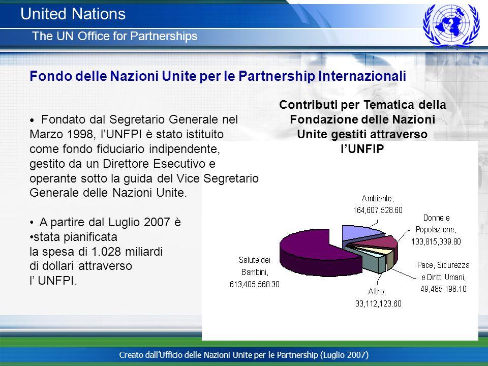 Creato dallUfficio delle Nazioni Unite per le Partnership (Luglio 2007) United Nations The UN Office for Partnerships Fondato dal Segretario Generale