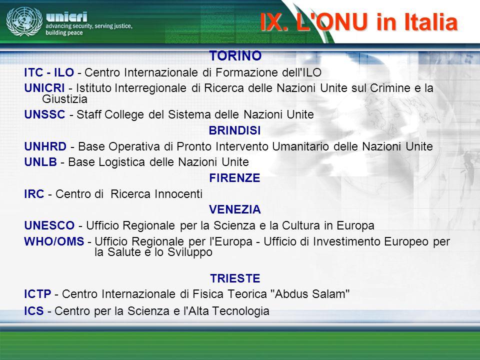 IX. L'ONU in Italia TORINO ITC - ILO - Centro Internazionale di Formazione dell'ILO UNICRI - Istituto Interregionale di Ricerca delle Nazioni Unite su