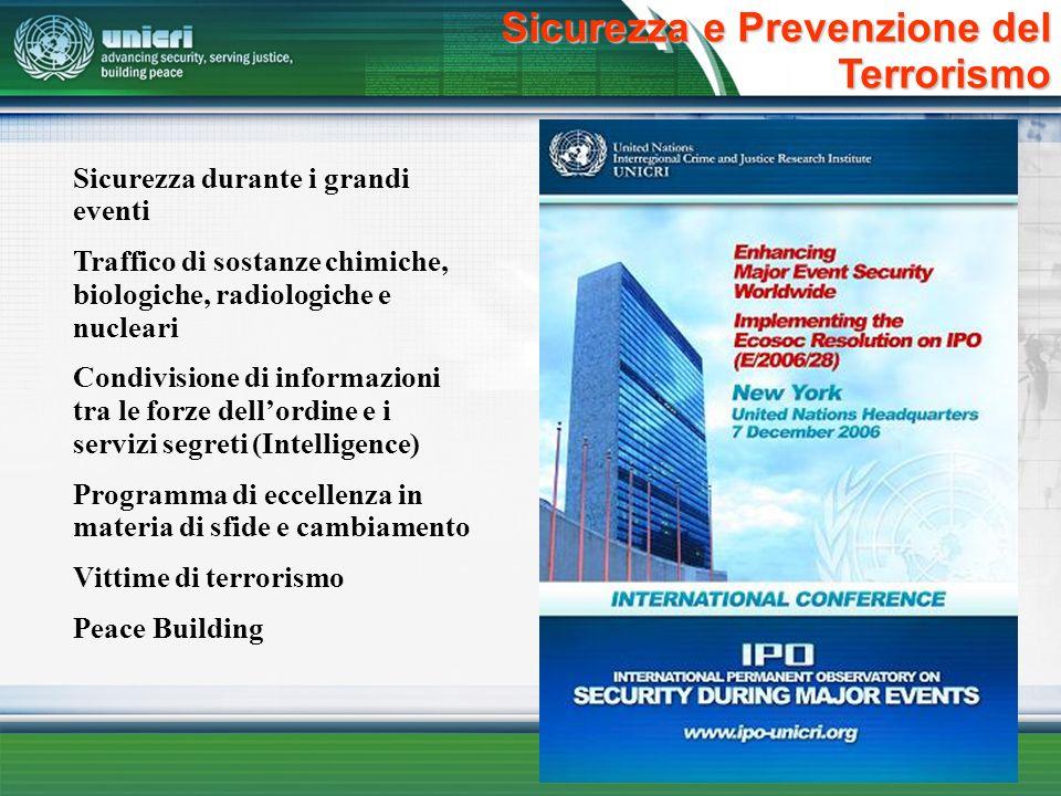 Sicurezza e Prevenzione del Terrorismo Sicurezza durante i grandi eventi Traffico di sostanze chimiche, biologiche, radiologiche e nucleari Condivisio