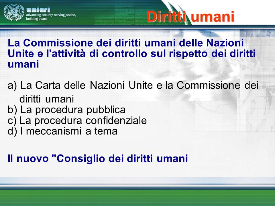 Diritti umani La Commissione dei diritti umani delle Nazioni Unite e l'attività di controllo sul rispetto dei diritti umani a) La Carta delle Nazioni