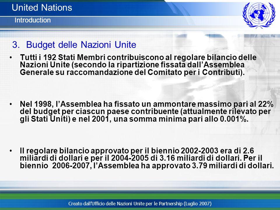 Creato dallUfficio delle Nazioni Unite per le Partnership (Luglio 2007) Tutti i 192 Stati Membri contribuiscono al regolare bilancio delle Nazioni Uni