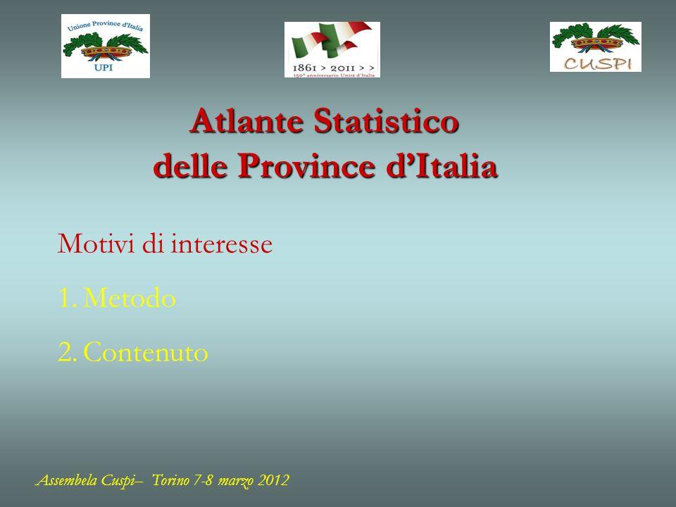 Atlante Statistico delle Province dItalia Motivi di interesse 1.Metodo 2.Contenuto