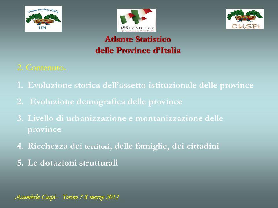 Assembela Cuspi– Torino 7-8 marzo 2012 Atlante Statistico delle Province dItalia
