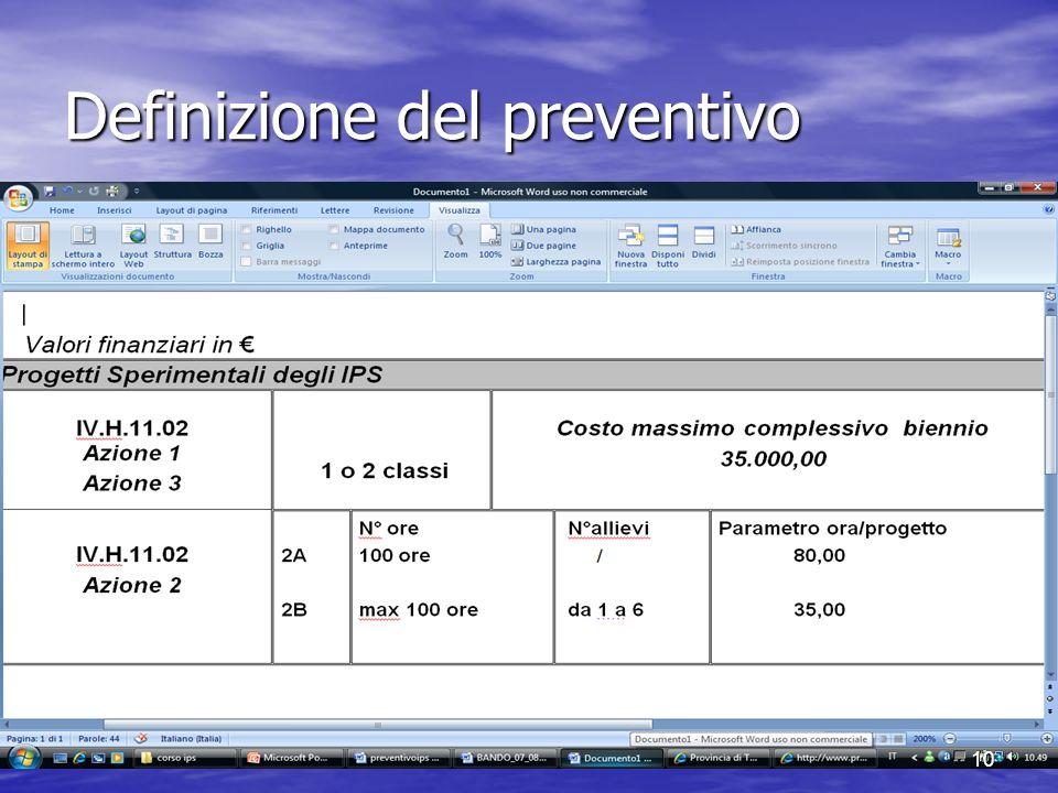 Definizione del preventivo 10