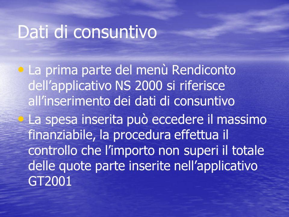 Dati di consuntivo La prima parte del menù Rendiconto dellapplicativo NS 2000 si riferisce allinserimento dei dati di consuntivo La spesa inserita può