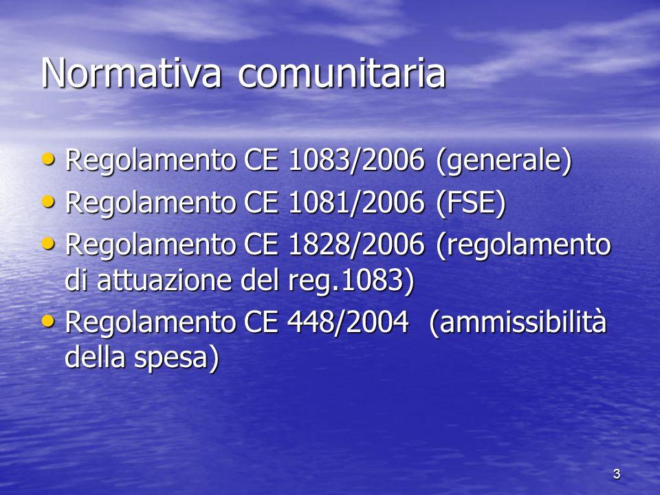 Normativacomunitaria Regolamento CE 1083/2006 (generale) Regolamento CE 1083/2006 (generale) Regolamento CE 1081/2006 (FSE) Regolamento CE 1081/2006 (FSE) Regolamento CE 1828/2006 (regolamento di attuazione del reg.1083) Regolamento CE 1828/2006 (regolamento di attuazione del reg.1083) Regolamento CE 448/2004 (ammissibilità della spesa) Regolamento CE 448/2004 (ammissibilità della spesa) 3