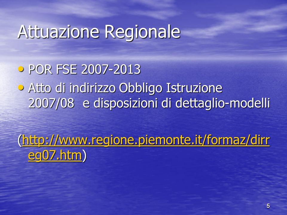 Attuazione Regionale POR FSE 2007-2013 POR FSE 2007-2013 Atto di indirizzo Obbligo Istruzione 2007/08 e disposizioni di dettaglio-modelli Atto di indirizzo Obbligo Istruzione 2007/08 e disposizioni di dettaglio-modelli (http://www.regione.piemonte.it/formaz/dirr eg07.htm) http://www.regione.piemonte.it/formaz/dirr eg07.htmhttp://www.regione.piemonte.it/formaz/dirr eg07.htm 5
