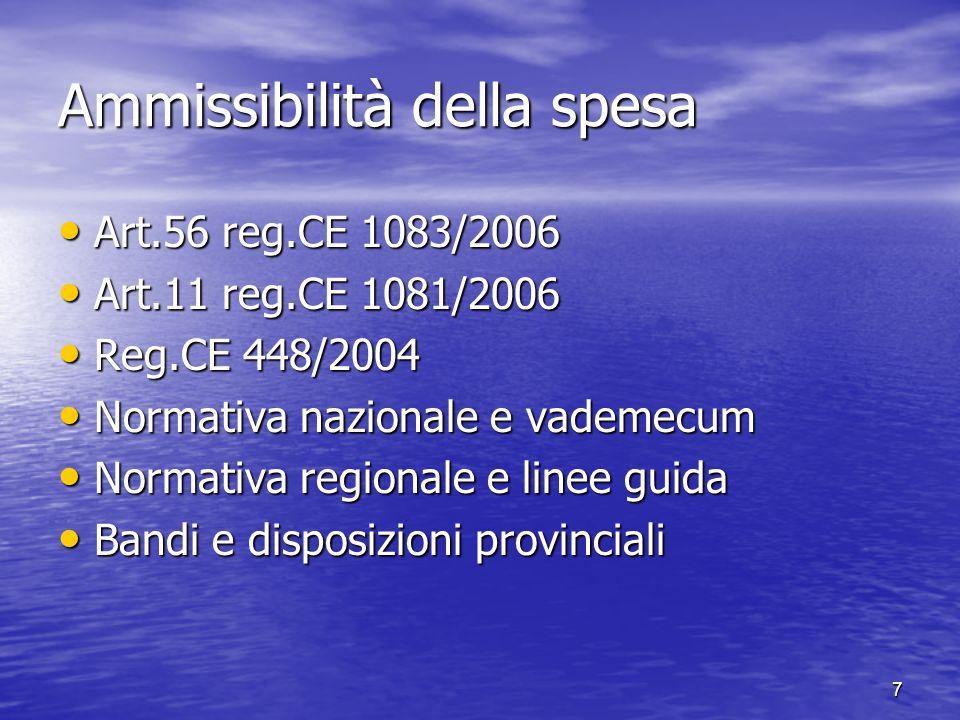 Ammissibilità della spesa Art.56 reg.CE 1083/2006 Art.56 reg.CE 1083/2006 Art.11 reg.CE 1081/2006 Art.11 reg.CE 1081/2006 Reg.CE 448/2004 Reg.CE 448/2
