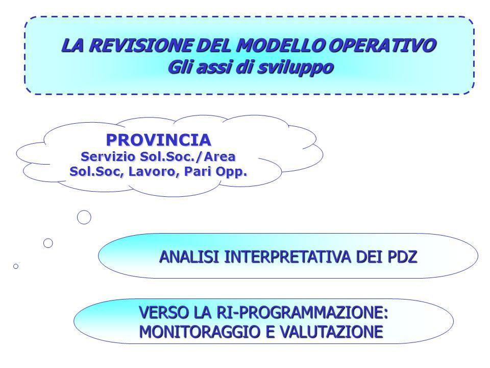 VERSO LA RI-PROGRAMMAZIONE: MONITORAGGIO E VALUTAZIONE ANALISI INTERPRETATIVA DEI PDZ PROVINCIA Servizio Sol.Soc./Area Sol.Soc, Lavoro, Pari Opp.