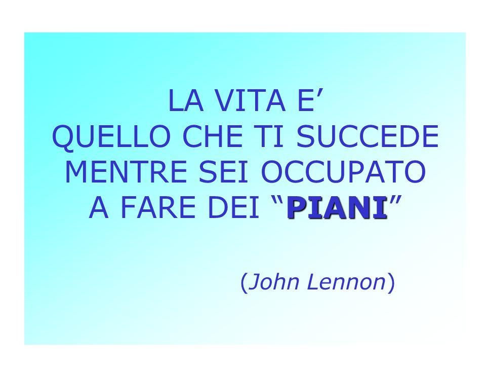 PIANI LA VITA E QUELLO CHE TI SUCCEDE MENTRE SEI OCCUPATO A FARE DEI PIANI (John Lennon)