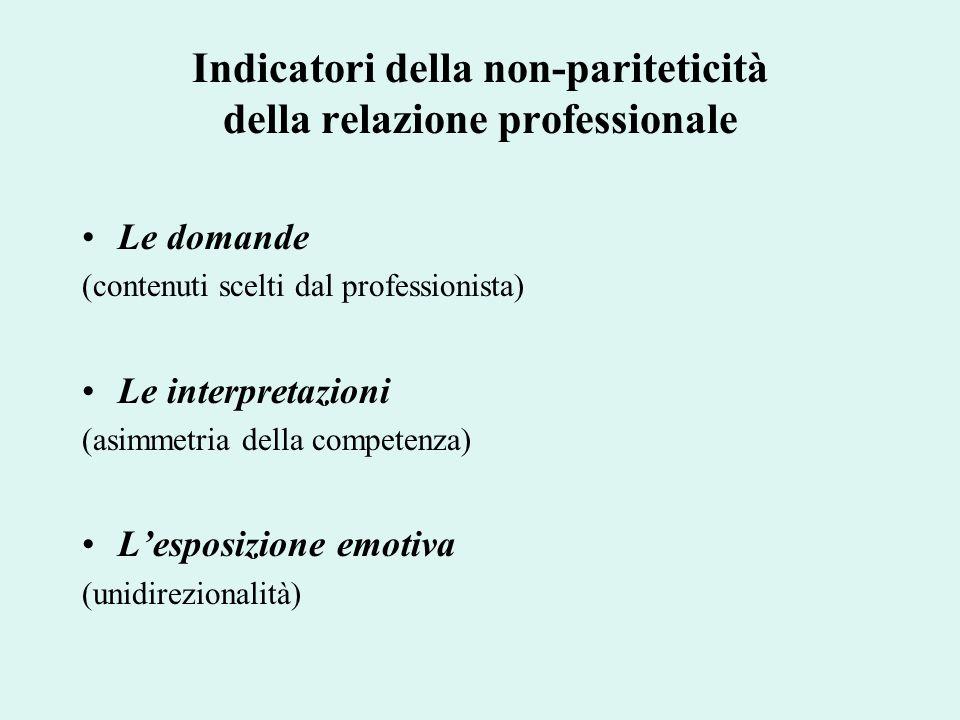 Indicatori della non-pariteticità della relazione professionale Le domande (contenuti scelti dal professionista) Le interpretazioni (asimmetria della