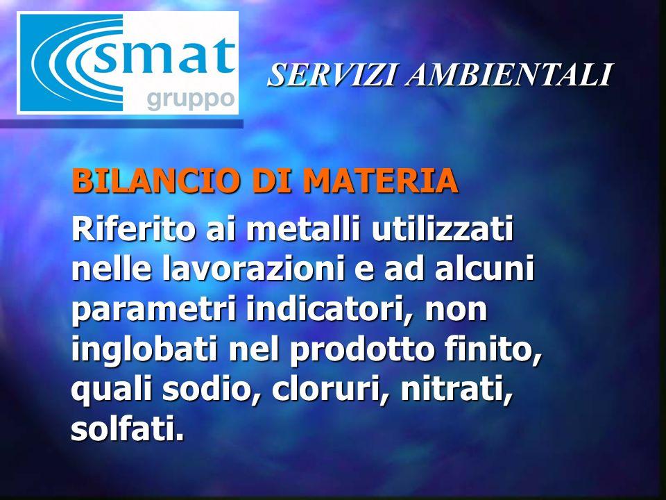 BILANCIO DI MATERIA Riferito ai metalli utilizzati nelle lavorazioni e ad alcuni parametri indicatori, non inglobati nel prodotto finito, quali sodio, cloruri, nitrati, solfati.